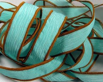 Ribbon, Silk Ribbon, Hand Dyed Silk Ribbon - Crinkle Silk Jewelry Bracelet Fairy Ribbon - Quintess -Navajo