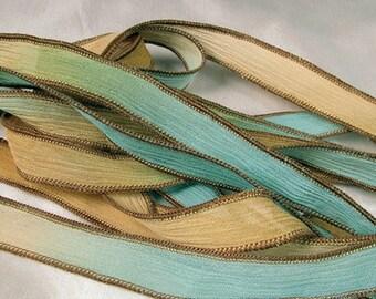Hand Dyed Ribbon, Silk Wrist Wrap Bracelet, Crinkle Hand Painted Silk Bracelet, Fairy Ribbons, Beach, Nautical - Seafoam Surf
