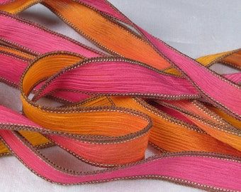 Hand Dyed Silk Ribbon - Crinkle Hand Painted Silk Bracelet, Silk Wrist Wrap - Fairy Ribbons - Hot Pink Orange