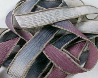Silk Ribbon - Hand Dyed Silk Ribbon - Crinkle Hand Painted Silk Jewelry Bracelet - Fairy Ribbons - Terra Rosa