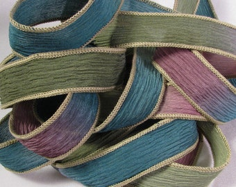 Silk Ribbon, Hand Dyed Silk Ribbon - Crinkle Ribbon, Jewelry Bracelet, Silk Wrist Wrap, Fairy Ribbon - Quintessence - Rustic Garden