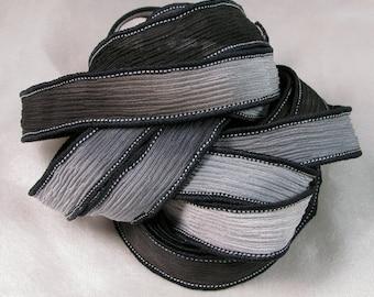 Silk Ribbon - Hand Dyed Silk Ribbon - Wrist Wrap Bracelet, Jewelry Supplies, Quintessence - Black and Grey