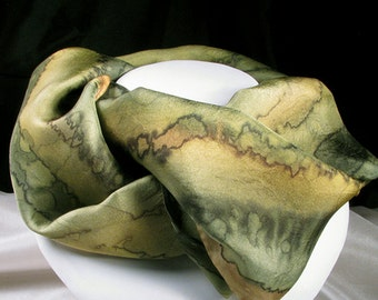 Scarf, Silk Scarf, Hand Painted Silk Scarf, Gift for Her - Woodland Walk