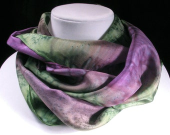 Scarf, Silk Scarf, Hand Painted Silk Scarf, Gift for Her, purple scarf, Quintess - Wisteria Garden