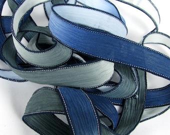 Blue Grey Ribbon, Hand Dyed Silk Ribbon - Crinkle Ribbon, Silk Ribbon Bracelet, Silk Wrist Wrap, Boho Wrist Wrap - Blueberry Mist