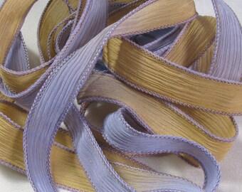 Hand Dyed Silk Ribbon - Crinkle Ribbon, Silk Ribbon Bracelet, Silk Wrist Wrap, Boho Wrist Wrap, Wholesale Wrist Wrap - Honey Lavender