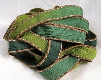 Hand Dyed Silk Ribbon - Crinkle Silk Jewelry Bracelet Fairy Ribbon Green - Quintessence - Sherwood