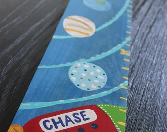 Growth Chart Wooden Growth Chart Ruler Height Chart Outer Space Planet Theme Nursery Wall Art Bedroom Decor Personalized Chart Free Shipping