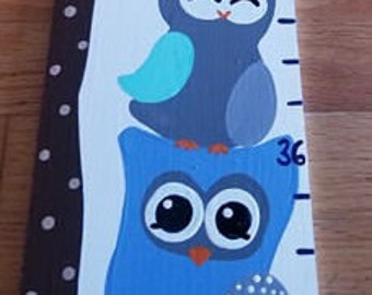 Growth Chart Wooden Growth Chart Ruler Height Chart Blue Owl Theme Nursery Wall Art Bedroom Decor Personalized Chart Free Shipping