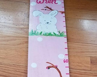 Growth Chart Wooden Growth Chart Ruler Height Chart Pink Bunny Rabbit  Theme Nursery Wall Art Bedroom Decor Personalized Chart Free Shipping