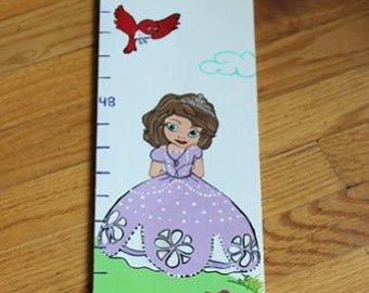 Growth Chart Wooden Growth Chart Ruler Height Chart Princess Animal Theme Nursery Wall Art Bedroom Decor Personalized Chart Free Shipping