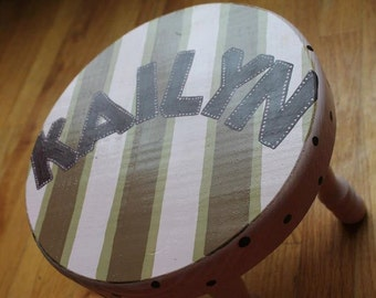 Kids Stool  Sitting Stool Time Out Stool Toddler Stool Wooden Personalized Stool Play Stool Childrens Stool Plaid Theme Handmade