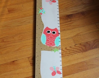 Growth Chart Wooden Growth Chart Ruler Height Chart Pink Owl Theme Nursery Wall Art Bedroom Decor Personalized Chart Free Shipping
