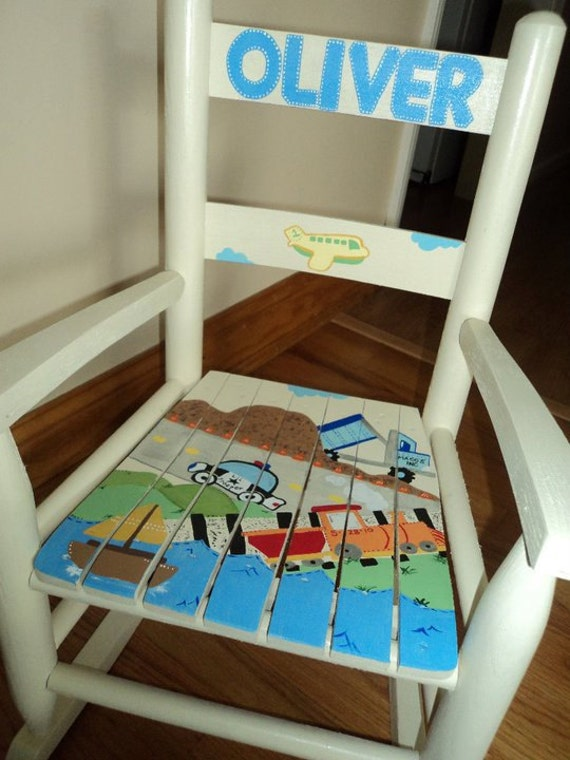 Excellent Childs Rocking Chair Rocking Chair Hand Painted Rocker Wood Rocking Chair Kid Rocking Chair Personalized Rocker Construction Custom Theme Creativecarmelina Interior Chair Design Creativecarmelinacom