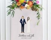 Custom Wedding Portrait, Custom Wedding Invitations, Custom Couple Portrait, Custom Illustrated Wedding Invitation, Art Print, Unframed