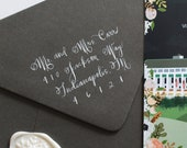 Handwritten Calligraphy on Wedding Envelopes, Script