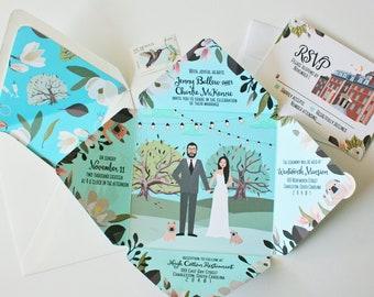 Quad-Fold Wedding Invitations, Folded Wedding Invitations, Personalized Portrait, Custom Illustrated, Sample Pack