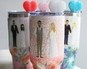 Anniversary Tumbler, Custom Glitter Tumbler, Couple Portraits (Optional Pets), Your Wedding Flowers, Choice of Colors
