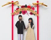 Handmade Custom Wedding Cake Topper, Couple + Floral Banner