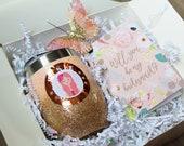 Blush Box, Will You Be My Bridesmaid, Bridesmaid Gift, Custom Glitter Tumbler, Custom Illustrated