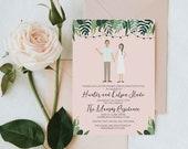 Bridal Shower Invitation, Custom Wedding Portrait, Custom Wedding Shower, Custom Couple Portrait, Design Fee