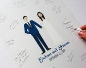 Wedding Guestbook, Guestbook Alternative, Wedding Guestbook Print,  Custom Wedding Portrait, Custom Couple Portrait