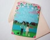 Custom Illustrated Wedding Save the Date or Invitation, Design Fee