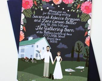 Invite card custom illustrated wedding invitations design invite card custom illustrated wedding invitations design fee stopboris Gallery