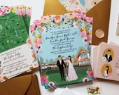 Custom Wedding Invite, RSVP, and Map / Reception Card, Design Fee
