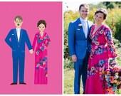 Wedding Portrait Illustration Design Fee, Enlarged Print or Digital Files, Portrait + Flowers Only- No Invitation Design