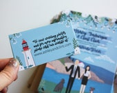 Miniature Information Card for Wedding Invitations, Custom Illustrated, Design Fee
