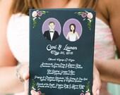 Wedding Program, Custom Programs, Custom Wedding Portrait, Custom Couple Portrait, Custom Illustrated, Design Fee
