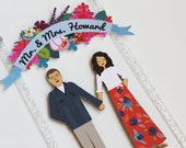 Handmade Custom Wedding Cake Topper, Couple + Floral Banner