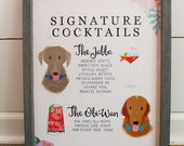 NEW!- Signature Cocktails Distressed Wood Wedding Sign, Custom Pets, Handmade Frame, Your Choice of Stain, or Enlarged Print