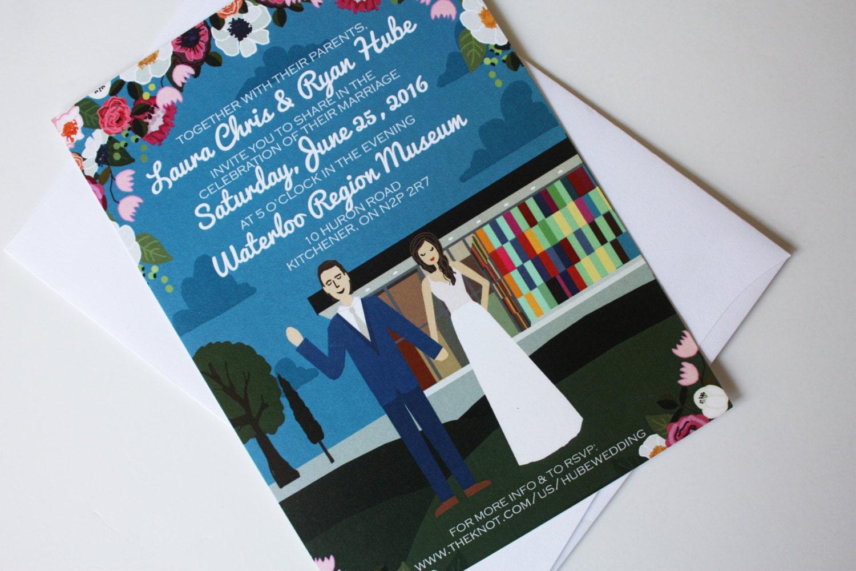 Invite Card : Custom Illustrated Wedding Invitations Design   Etsy
