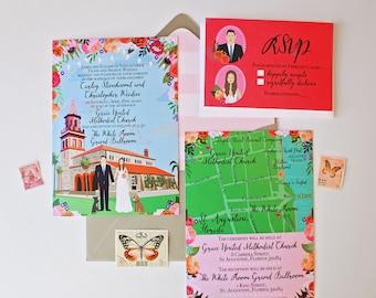 Custom Invitation Suite, Illustrated Wedding Invitation, RSVP, and Map / Reception Card, Sample Pack