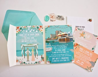 Custom Invitation Suite, Personalized Portraits, Wedding Invite, RSVP, and Map / Reception Card, Printed Samples