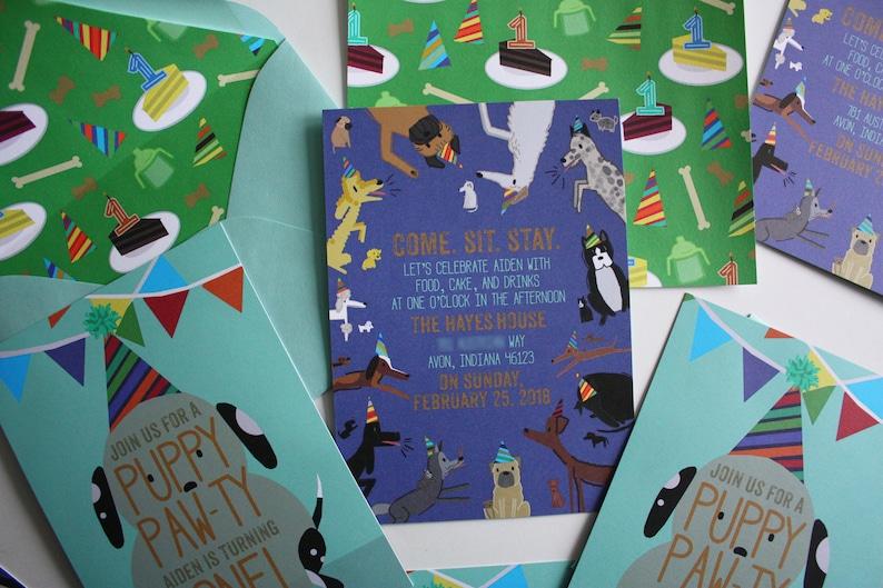 Birthday Party Invitations Print Deposit Paw-ty Puppy Party