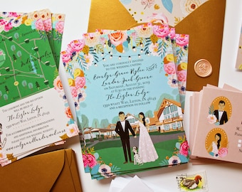 Custom Invitation Suite, Wedding Invite, RSVP, and Map / Reception Card, Personalized Portrait, Sample Pack