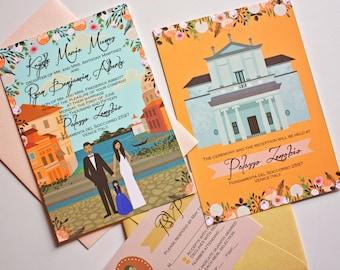 Custom Invitation Suite, Personalized Portraits, Illustrated Wedding Invitation, Invite, RSVP, Map, or Reception Card, Design Fee