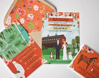 Custom Invitation Suite, Custom Illustrated Invite, RSVP, and Map / Reception Card, Personalized Portrait, Sample Pack