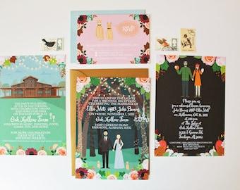 Custom Invitation Suite, Personalized Portrait, Illustrated Wedding Invitation, Invite, RSVP, Map, or Reception Card, Printed Sample