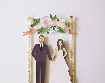 Handmade Custom Wedding Cake Topper, Couple + Floral Banner, Personalized Wedding Portrait