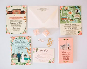 Custom Invitation Suite, Illustrated Invitation, RSVP, and Map / Reception Card, Personalized Portrait, Sample Pack