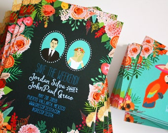 Custom Illustrated Save the Date, Wedding Save the Date, Profile Portraits, Personalized Wedding Portrait, Printed Samples