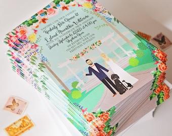 Custom Wedding Invite, Custom Wedding Invitation, Custom Couple Portrait, Custom Illustrated Wedding Invitation, Sample Pack