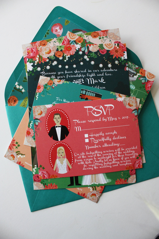 RSVP Card : Custom Illustrated Wedding Invitations Add-on | Etsy