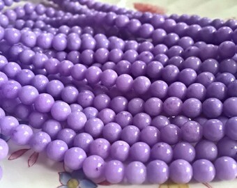 6mm Mashan JADE Beads in Lavender Purple, Round, Smooth, Shiny, 67 Pcs, Full Strand, Candy Jade, Mountain Jade, Dyed, Dolomite Marble