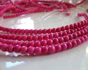 4mm Imitation TURQUOISE Beads in Hot Pink, Round Spacers, 1 Strand, Approx 110 Pieces, Pink Stone Beads
