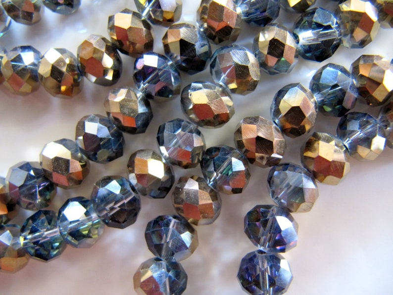 Beautiful 70pcs 6*8mm Half silver Crystal Faceted Abacus Loose Bead